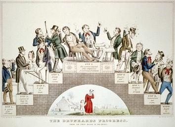 The Drunkard's Progress (1846) by Nathaniel Currier warns that moderate drinking leads step-by-step to total disaster