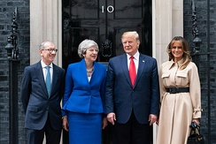 Prime Minister Theresa May and her husband Philip meeting with U.S. President Donald Trump and his wife Melania in June 2019.
