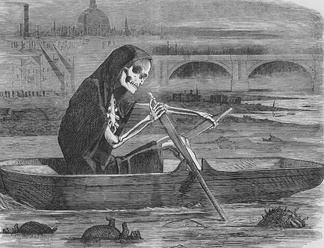 """The Silent Highwayman"" (1858). Death rows on the Thames, claiming the lives of victims who have not paid to have the river cleaned up."