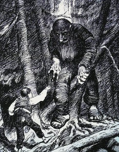 The youngest son hero of The Boy Who Had an Eating Match with a Troll confronts the troll. (Illustration by Theodor Kittelsen)