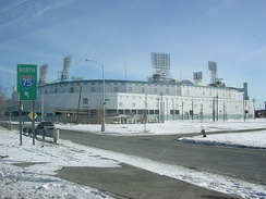 Tiger Stadium in Detroit, an example of a listing that has since been demolished