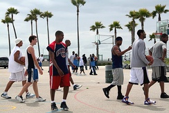 Streetballers at the Venice Beach basketball courts