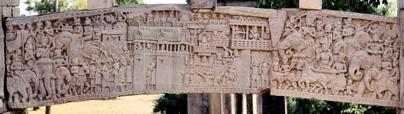 Mallas defending the city of Kusinagara, as depicted at Sanchi. Malla was an ancient Indian republic (Gaṇa sangha) that constituted one of the solasa (sixteen) Mahajanapadas (great realms) of ancient India as mentioned in the Anguttara Nikaya.[128]