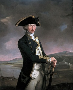 Captain Horatio Nelson, painted by John Francis Rigaud in 1781, with Fort San Juan - the scene of his most notable achievement up to that point — in the background. The painting itself was begun and nearly finished prior to the battle, when Nelson held the rank of lieutenant; when Nelson returned, the artist added the new captain's gold-braided sleeves.[11]