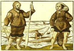 An anonymous 1578 illustration believed to show Kalicho (left), and Arnaq and Nutaaq (right)