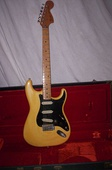 "1976 Stratocaster, with black pickguard, large ""CBS headstock"" and ""bullet"" truss rod"