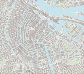 Large-scale map of the city centre of Amsterdam, including sightseeing markers, as of April 2017