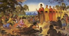 "A depiction of Siddhartha Gautama in a previous life prostrating before the past Buddha Dipankara. After making a resolve to be a Buddha, and receiving a prediction of future Buddhahood, he becomes a ""bodhisatta""."