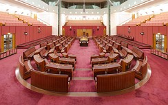 The Australian Senate. Crossbenchers sit in the seats between the two sides.