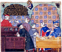 A 14th century manuscript depicting bankers in an Italian counting house.