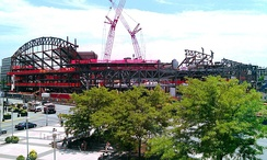 A photograph of Barclays Center under construction.