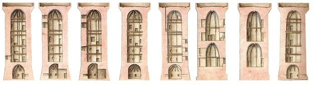 A 1750 plan of the Bastille's eight medieval towers showing the calottes in the roofs and the infamous cachots within the foundations.