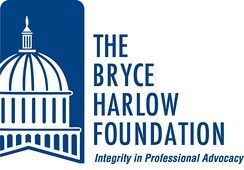 "The logo of the Bryce Harlow Foundation with its tagline: ""Integrity in Professional Advocacy."""