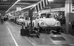 The Volkswagen Beetle – for many years the most successful car in the world – on the assembly line in Wolfsburg factory, 1973