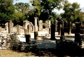 Remains of 6th century baptisery in Butrint.