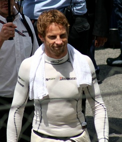 Jenson Button donning fireproof underwear