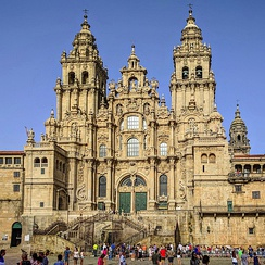 The towers of the Cathedral of Santiago de Compostela by Fernando de Casas Novoa (1680 (center tower) and 1738–1750)