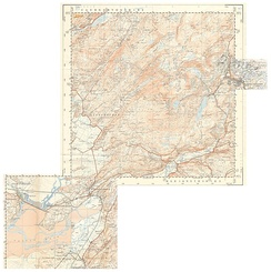 Ordnance Survey 1:25,000 composite map showing the Ffestiniog railway about 1953, after the construction of the Llyn Ystradau reservoir flooded a section of the route, but before the deviation was built to carry the railway around the west bank of the reservoir.