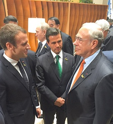 Emmanuel Macron, Enrique Peña Nieto and José Ángel Gurría at the G20 Leaders Summit 2017.