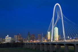Named after Dallas philanthropist, the Margaret Hunt Hill Bridge spans the Trinity River.