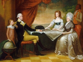 "Mellon Collection, National Gallery of Art""The Washington Family"" by Edward Savage, painted between 1789 and 1796, shows (from left to right): George Washington Parke Custis, George Washington, Nelly Custis, Martha Washington, and an enslaved servant (probably William Lee or Christopher Sheels)."