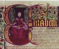 "The illuminated letter ""E"", depicting Elizabeth I, in the 1571 charter"