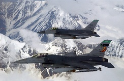 F-16Cs of the 180th Fighter Wing flying over Alaska, 2006