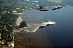 U.S. Air Force F-22A and F-35A over Florida's Emerald Coast