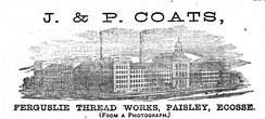 Advertisement for the Ferguslie Thread Works in the 1867 Paris World Fair catalogue