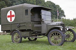 Ford 1916 Model T Field Ambulance. This canvas on wood frame model was used extensively by the British & French as well as the American Expeditionary Force in World War I. Its top speed was 45 mph (72 km/h), produced by a 4-cylinder water-cooled engine