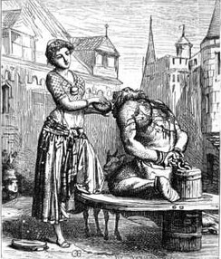Esmeralda gives a drink to Quasimodo in one of Gustave Brion's illustrations