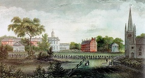September 1836 alumni procession, the First Parish Meeting House to the Pavilion[clarification needed] in a drawing by Eliza Susan Quincy, daughter of Harvard President Josiah Quincy