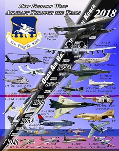 Historical Aircraft of the 51st Fighter Wing; Poster created by L. Vance Fleming, Historian for the 51st Fighter Wing. The photos used were from open-source sites. Not all aircraft were specifically assigned  to the 51st Fighter Wing but are representative of the type of aircraft that were assigned.