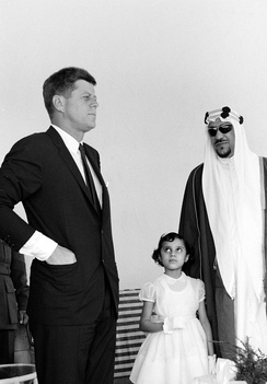King Saud and John Kennedy meet at the king's mansion in Palm Beach, Florida in 1962