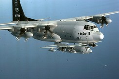 Two USMC KC-130Js of VMGR-352 during a training exercise