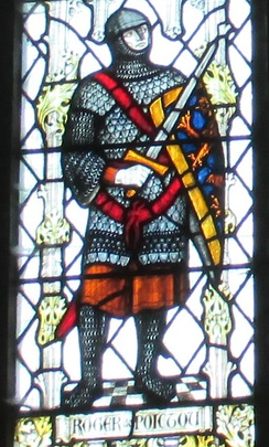 Roger the Poitevin depicted in stained glass in Lancaster Priory