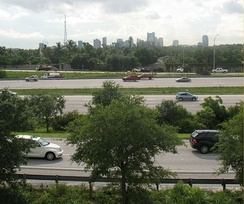 Interstate 95 as it passes through Fort Lauderdale. The city's skyline can be seen in the background.
