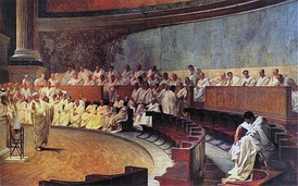 Representation of a sitting of the Roman Senate: Cicero attacks Catilina, from a 19th-century fresco