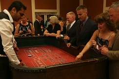 A craps table with a game in progress
