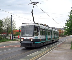 A (now retired) T-68A tram on the Eccles line, opened in 1999–2000 during Phase 2