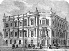 The Metropolitan Board of Works building in Spring Gardens near Trafalgar Square, original headquarters of the London County Council