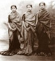 Girls in Mysore sari; long pleats are trademark of this style.