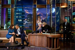 Leno and President Barack Obama on the set of The Tonight Show during a break in taping, October 25, 2011.