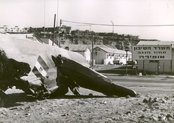 An Egyptian MiG-17 shot down during the dogfight over Sharm el-Sheikh.