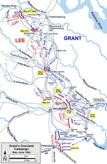 Overland Campaign, from the Wilderness to crossing the James River   Confederate   Union