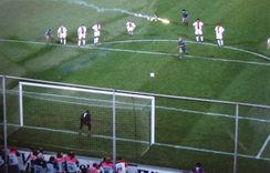 Ronaldo scoring the winning penalty for Barcelona in the 1997 UEFA Cup Winners' Cup Final against Paris Saint-Germain