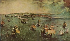 Peter Brueghel, Naval Battle in the Gulf of Naples, (The Harbour of Naples), c. 1558