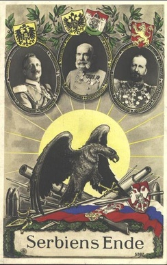 A propaganda postcard commemorating the victory of the Central Powers over Serbia in 1915.