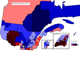 The results of the 1995 Quebec referendum per circonscription. Dark brown means high no %; dark blue means high yes %