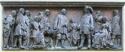 Relief by Johannes Boese, 1885: The Great Prince-elector of Brandenburg-Prussia welcomes arriving Huguenots